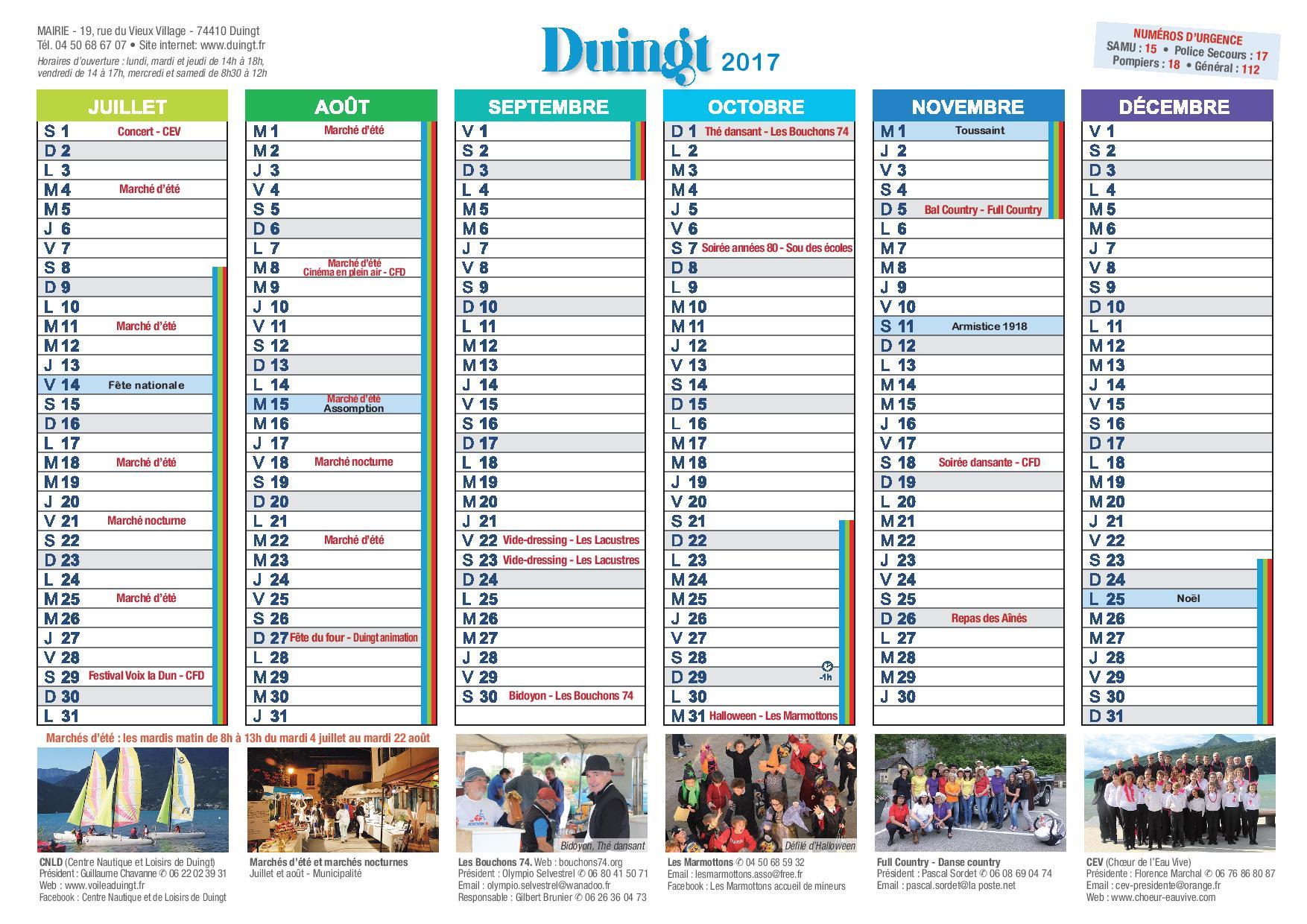 Calendrier 2017 du comit des f tes de duingt bouchons 74 - Calendrier du jardinier 2017 ...